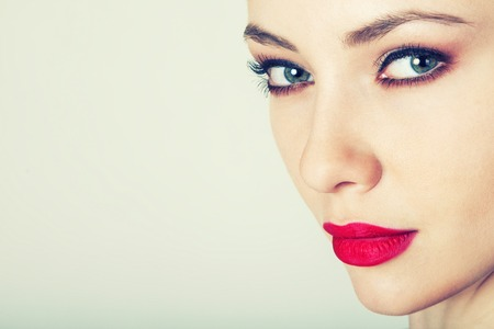 bright lipstick: Glamour woman model with bright fashion makeup Stock Photo