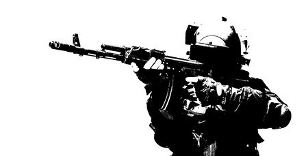 counter terrorism: Hard light image of spec ops soldier in face mask with his rifle Stock Photo