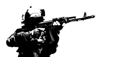 anti terrorist: Hard light image of spec ops soldier in face mask with his rifle Stock Photo