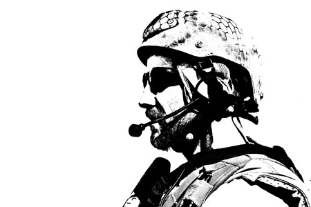 us soldier: Black white image of SEAL warfare operator