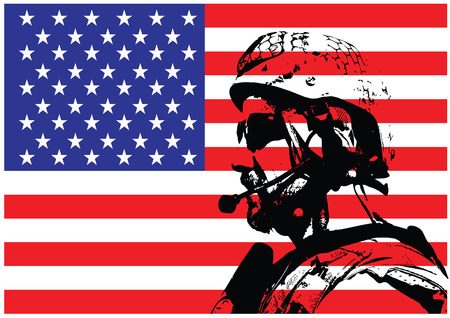 us soldier: Vector illustration of SEAL warfare operator in front of the USA flag Illustration