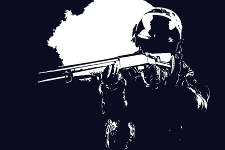 armed force: Vector illustration of spec ops soldier with shotgun