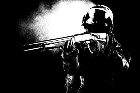 special forces: Black white image of spec ops soldier on black background with shotgun