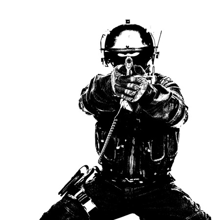 Black white image of spec ops soldier in face mask aiming his pistol Stock Photo
