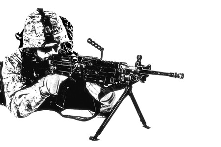 Black white image of US marine with mashine gun on white background photo
