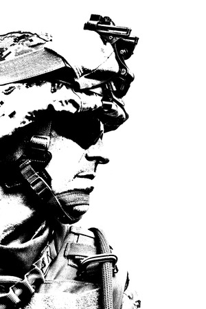 military forces: Black white image of US marine in uniform