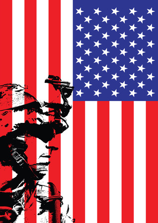 assault rifle: Vector illustration of US marine in front of the USA flag