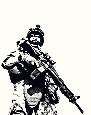 Black white image of US marine in uniform