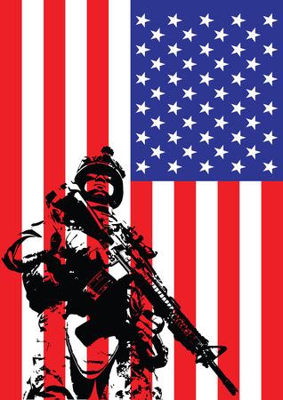rifleman: Ilustraci�n vectorial de US marina delante de la bandera de EE.UU. Vectores