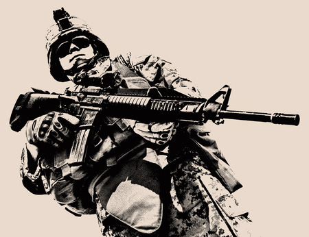 rifleman: Black white image of US marine in uniform