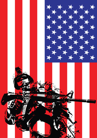 rifleman: Vector illustration of US marine in front of the USA flag