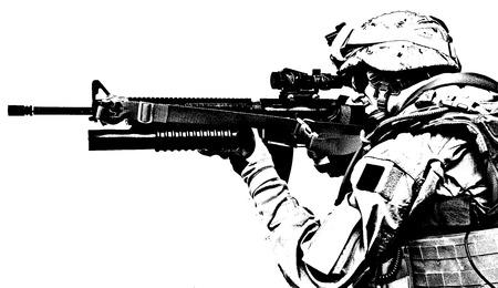 ranger: Black white image of US marine in uniform