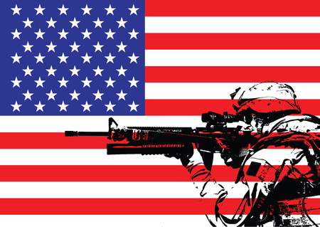 army flag: Vector illustration of US marine in front of the USA flag