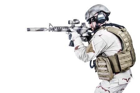 military forces: Bearded special warfare operator with assault rifle