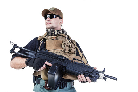 assault rifle: Studio shot of private military contractor PMC with assault rifle