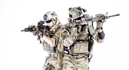 squad: United States Army rangers with assault rifles