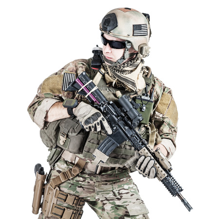 United States Army ranger with assault rifle