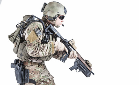 us soldier: United States Army ranger with assault rifle and grenade launcher Stock Photo