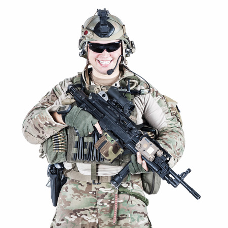 nato: United States Army ranger with assault rifle