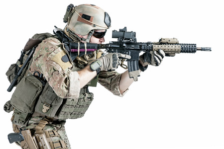 american soldier: United States Army ranger with assault rifle