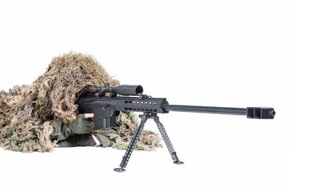 US Army Sniper Ghillie draagt een pak Stockfoto