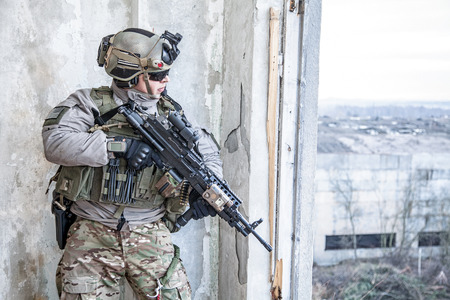 military: United States Army ranger during the military operation