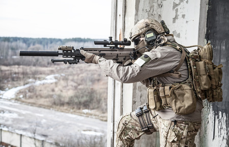assault forces: United States Army ranger during the military operation