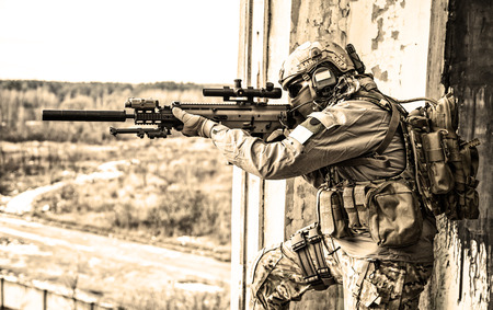 United States Army Ranger tijdens de militaire operatie Stockfoto