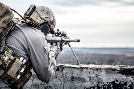 during: U.S. Army sniper during the military operation Stock Photo
