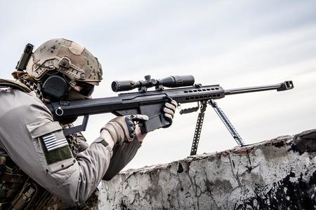 Amerikaanse leger sluipschutter tijdens de militaire operatie Stockfoto - 35628520
