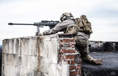U.S. Army sniper during the military operation Reklamní fotografie