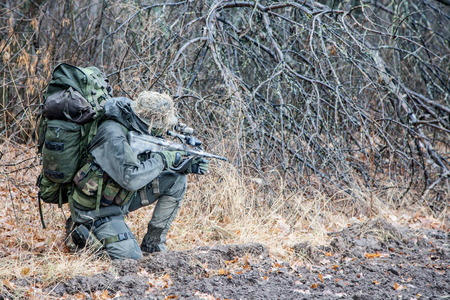 assault forces: Jagdkommando soldier Austrian special forces equipped with assault rifle during the raid