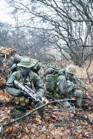 german handgun: Group of jagdkommando soldiers Austrian special forces during the raid