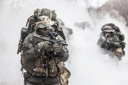 Group of jagdkommando soldiers Austrian special forces in the smoke Stok Fotoğraf - 37064769