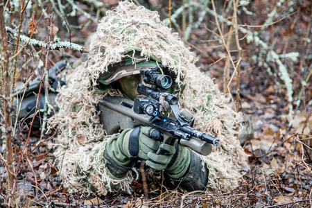 special forces: Jagdkommando soldier Austrian special forces wearing a ghillie suit Stock Photo