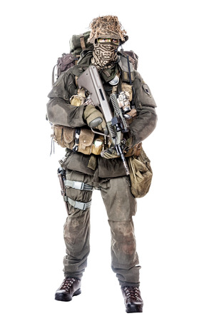 armed forces: Jagdkommando soldier Austrian special forces equipped with Steyr assault rifle Stock Photo