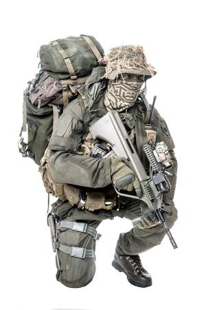 german handgun: Jagdkommando soldier Austrian special forces equipped with assault rifle