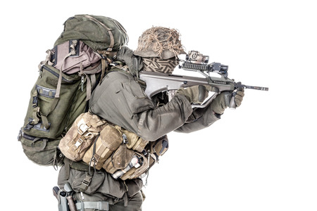 federal: Jagdkommando soldier Austrian special forces equipped with assault rifle