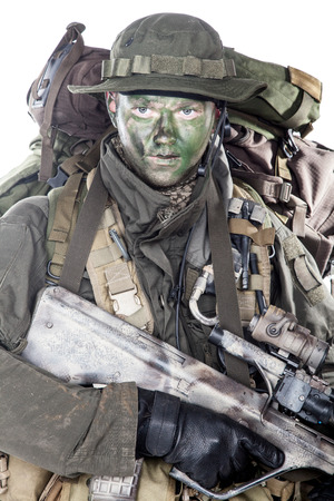 Jagdkommando soldier Austrian special forces equipped with assault rifle