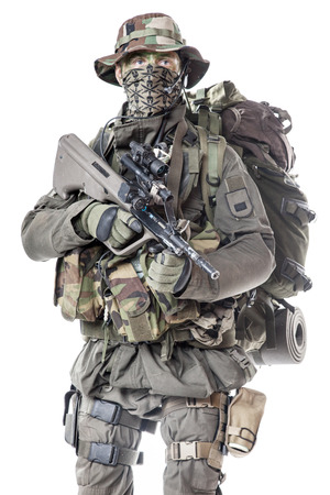 german soldier: Jagdkommando soldier Austrian special forces equipped with assault rifle