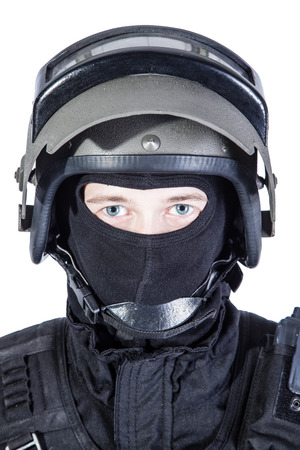 special forces: Russian special forces operator in black uniform and bulletproof helmet Stock Photo