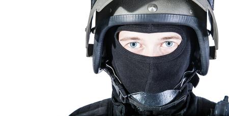 bulletproof: Russian special forces operator in black uniform and bulletproof helmet Stock Photo