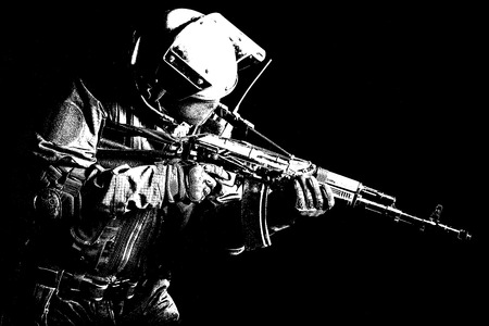 anti nato: Hard light image of russian special forces operator