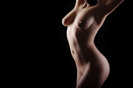nude breasts: Erotic silhouette of nude and sexy woman Stock Photo