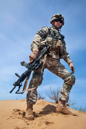 paratrooper: United States paratrooper airborne infantry in the desert