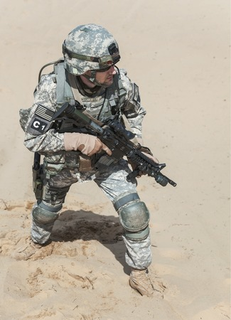 marksman: United States paratrooper airborne infantry in the desert