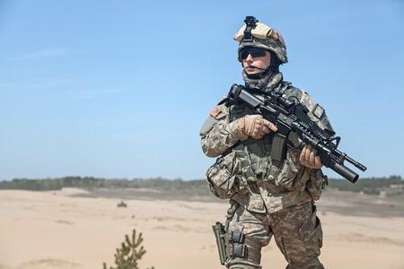 american soldier: United States paratrooper airborne infantry in the desert