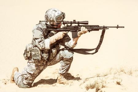 marksman: United States airborne infantry marksman in action