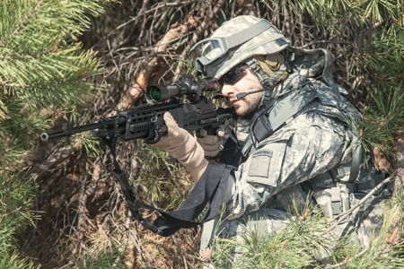 infantry: United States airborne infantry marksman in action
