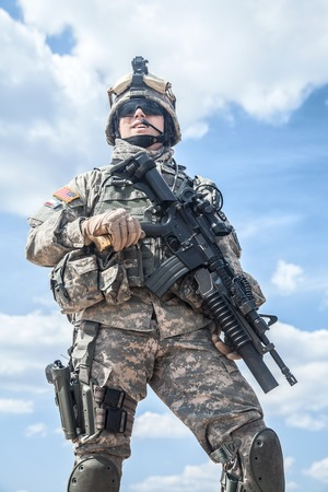 paratrooper: United States paratrooper airborne infantry in uniform